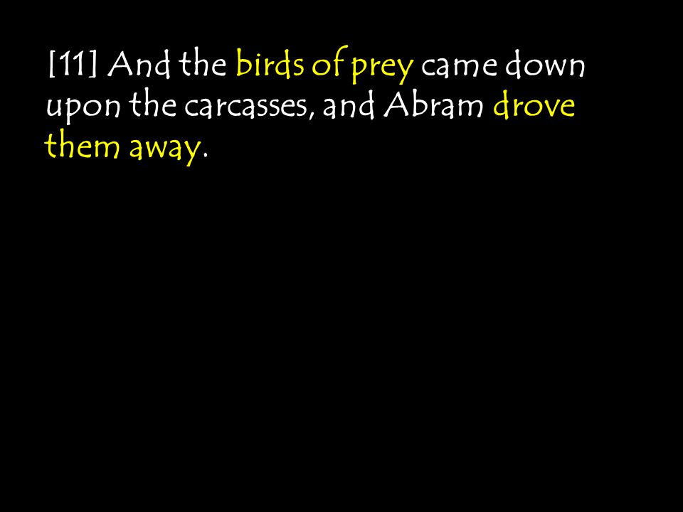 [11] And the birds of prey came down upon the carcasses, and Abram drove them away.